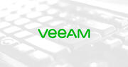 Veeam logo over ghosted image of keyboard