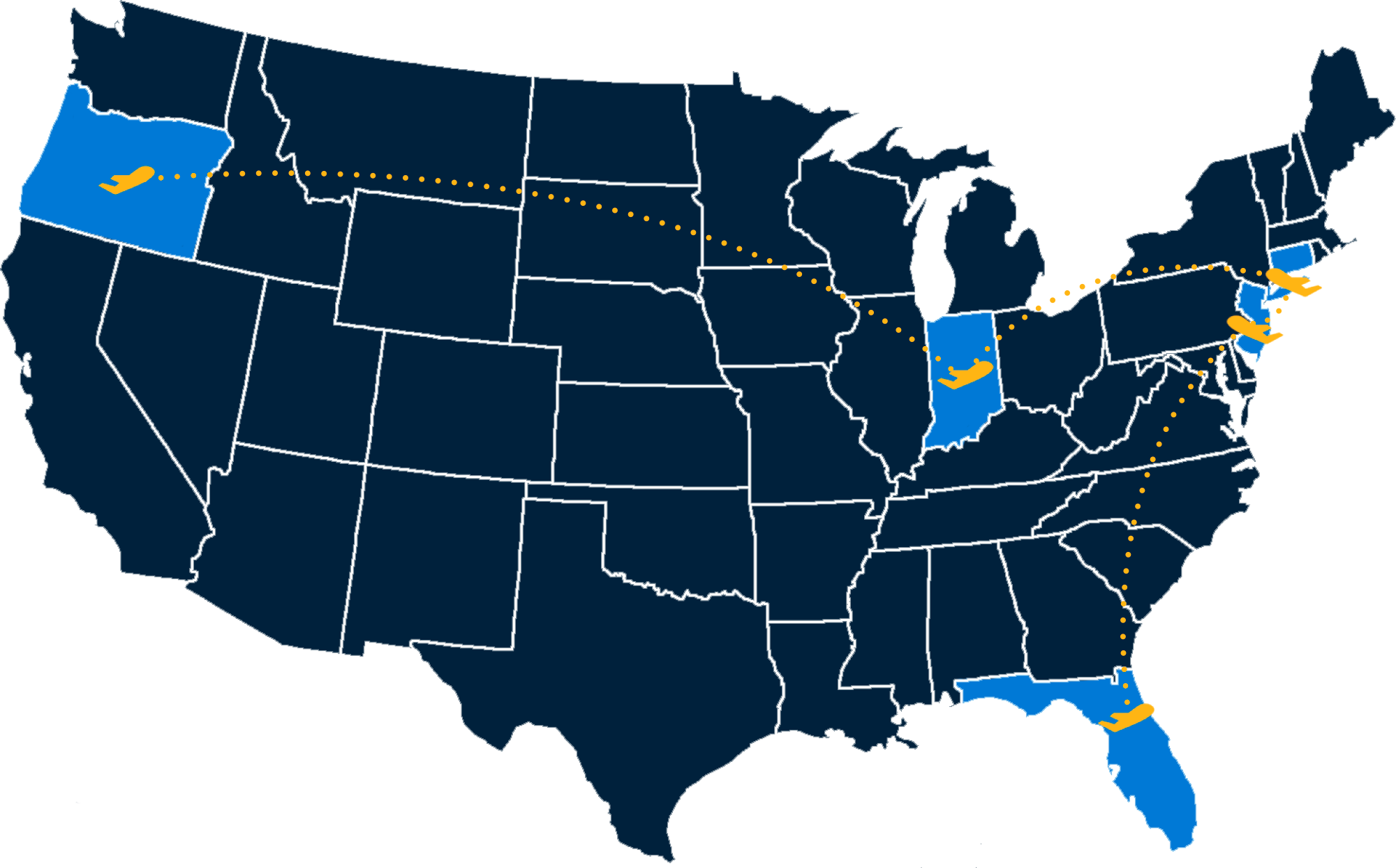 Map with airplane icons in Oregon, Floriday, Connecticut, New York, New Jersey, Indiana showing flight routes