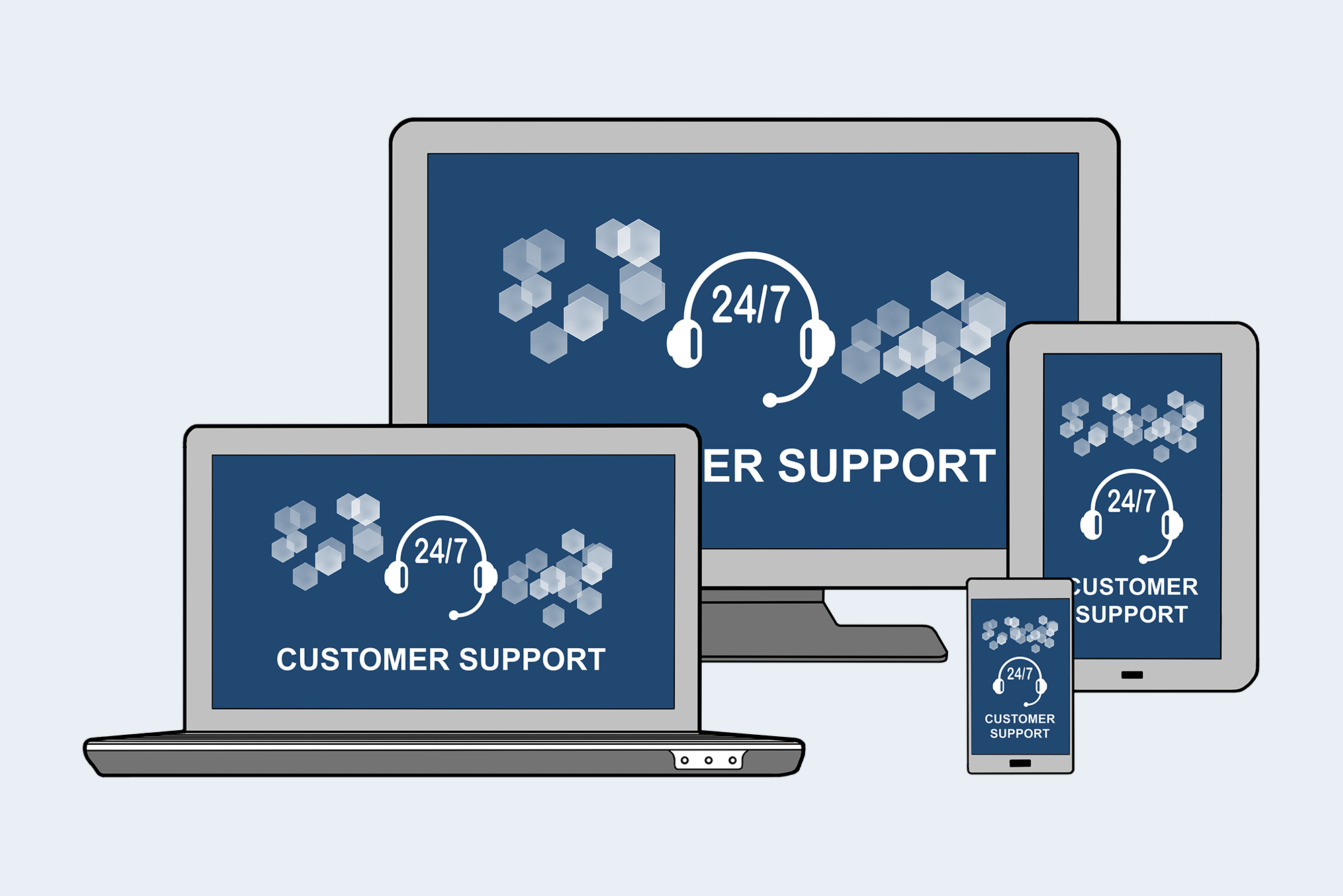 24/7 Customer Support image on multiple devices