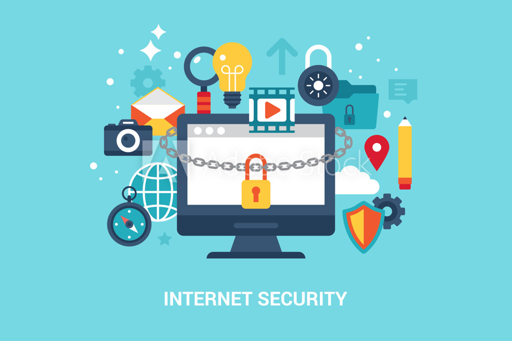 Internet Security Illustration with computer and computer parts