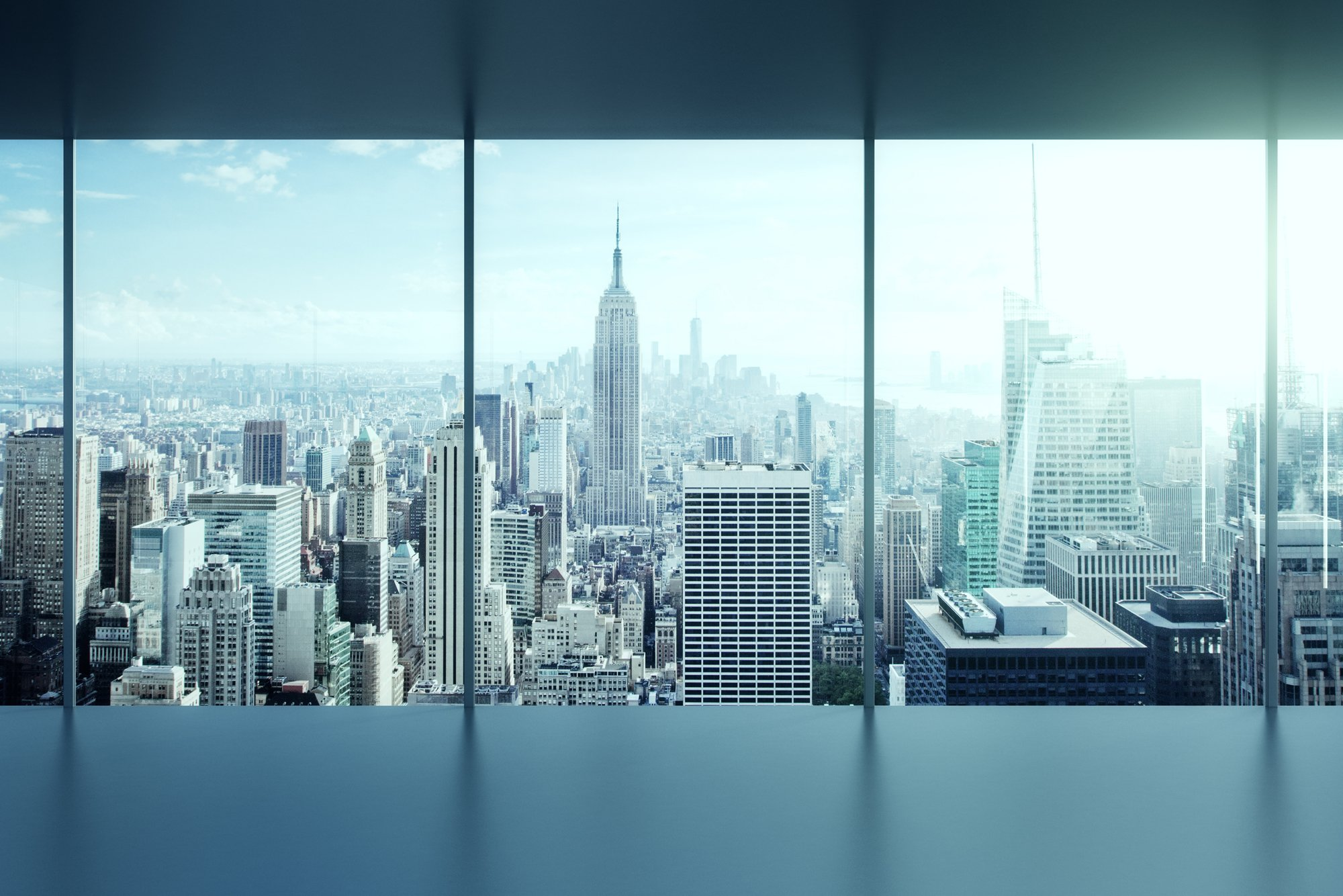 New York City Office Building looking out the window to the city