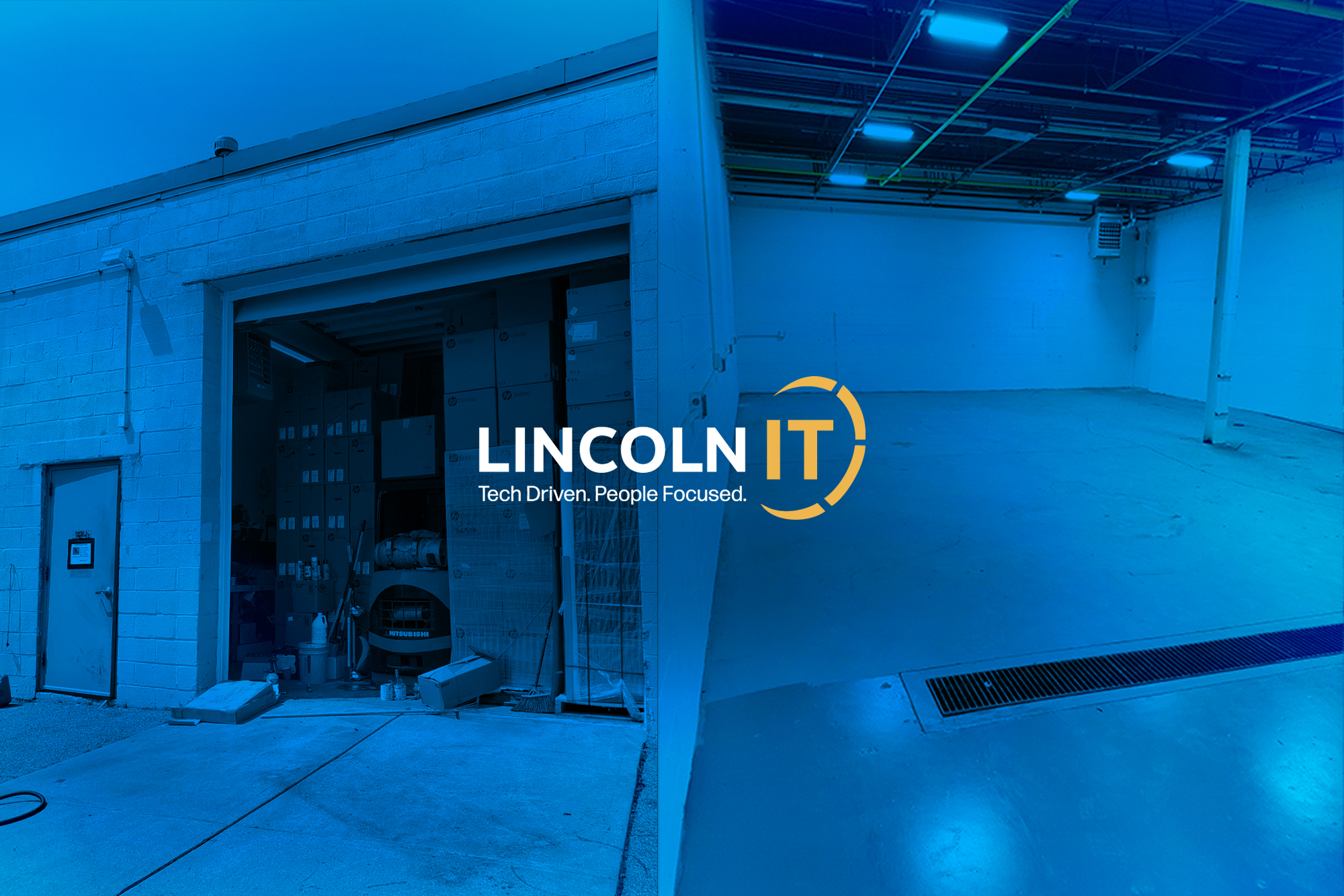 Old packed warehouse next to clean new warehouse with Lincoln IT Logo overlaid