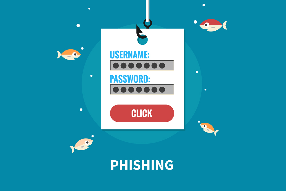 Phishing Form with username and password and fish swimming around it.