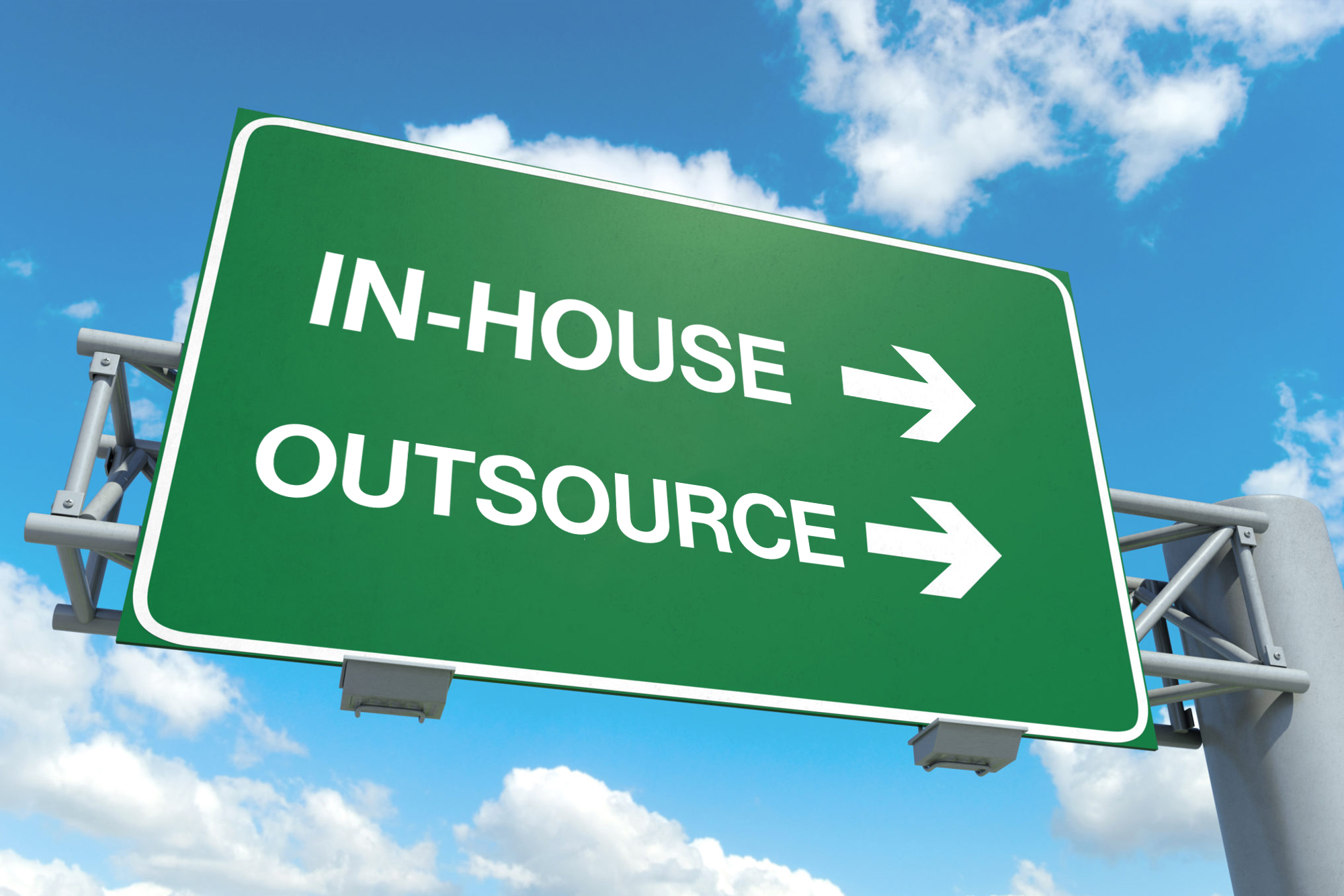 Street sign that shows in-house and outsourcing as exits going the same way