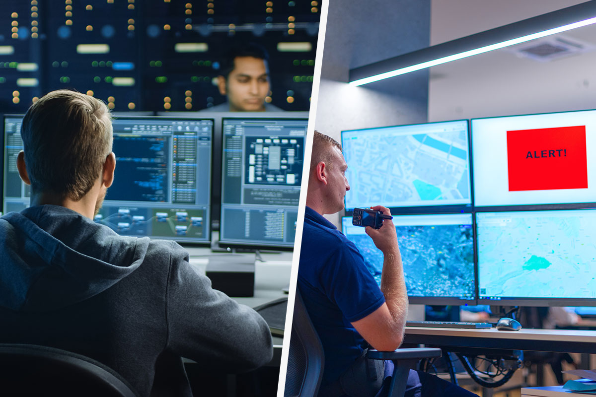 IT guy working at a network operations center and employee working at security operations center viewing alert on screen