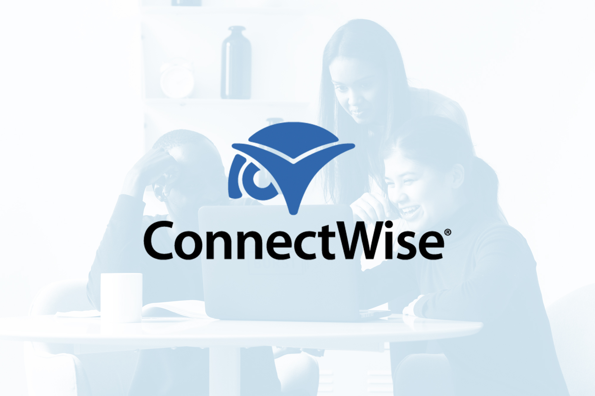 Connectwise Logo over faded picture of employees working together on laptop